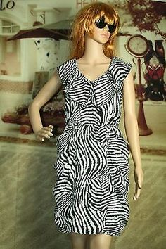 Womens dress jumper sleeveless black white zebra print size 7
