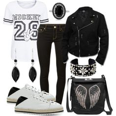 Perfecto in Black and White by gabriele-bernhard on Polyvore featuring MICHAEL Michael Kors, ALDO, Miss Me, Isabel Marant, Gemvara, leatherjacket, blackandwhite, perfecto and longtop