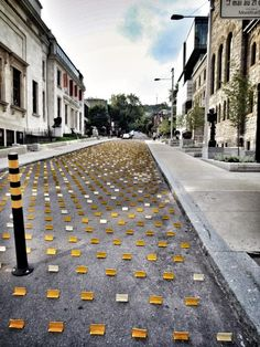Montreal art with lane markers Urban Intervention, Canada, Claude, Vacation Destinations, The Places Youll Go, Markers, Childhood, Bucket, Nyc