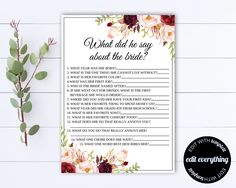 What Did He Say About His Bride Bridal Shower Games - What Did The Groom Say About His Bride - What Groom Say Games - Wedding Shower Games by MintedMemories on Etsy