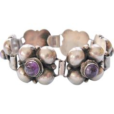 Mexican Amethyst Silver Link Bracelet Quatrefoil Pre-Eagle from Tannery Creek Antiques on Ruby Lane.