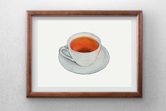 Tea cup  Watercolor painting  instant digital download  by Penfood