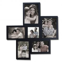Adeco Decorative Black Wood Wall Hanging Collage Picture Photo Frame, 6 Openings, Various Sizes