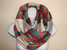 cream red greeen plaid infinity scarf Flannel by OtiliaBoutique Plaid Flannel, Plaid Scarf, Yellow Black, Red Green, Plaid Infinity Scarf, Autumn Winter Fashion, Unisex, Cream, Hoodies