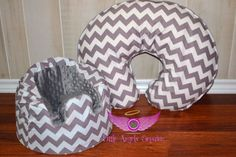 Gray Chevron and Minky Bumbo Cover and Boppy Pillow Cover Set on Etsy, $47.00