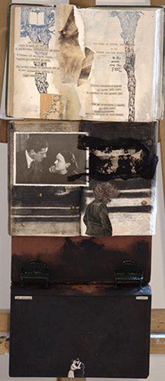 COSTELLAZIONI DEL CANCRO. CRISTINA SWAN Tecnica mista (libri, oggetti, acrilico), 58 x 22 cm, 2014 La storia di un incontro attraverso l'impatto di due costellazioni identiche, la sua memoria e ciò che lo rende vivo ancora oggi.