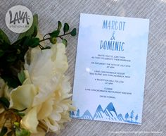 Margot Wedding Invitation #engagement #wedding #blue #mountains #trees #white #watercolour #watercolor #abstract #modern #5x7 - http://etsy.com/au/shop/LavaStationery