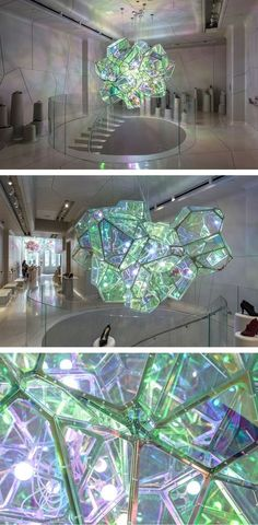 "Design studio SOFTlab, have created ""Crystalized,"" a sculpture that hangs in a New York City shoe boutique. Instalation Art, Licht Box, Wow Art, Light Art, Public Art, Belle Photo, Lighting Design, Sculpture Art, Stained Glass"