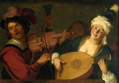 Gerrit van Honthorst. A Merry Group Behind a Balustrade with a Violin and a Lute Player.