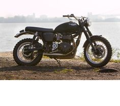 Another custom Bonneville, this one styled after the desert sleds that McQueen  used to ride.
