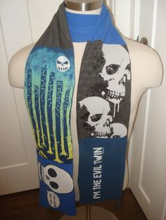 Evil Twin Halloween Upcycled T-Shirt Scarf by SewcialStudies101