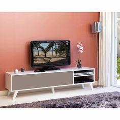 meuble tv bas avec 1 abattant et 2 niches torsten - Meuble Tv Blanc Glossy