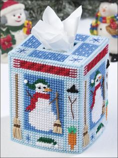 Plastic Canvas - Tissue Topper - Build-a-Snowman Tissue Topper