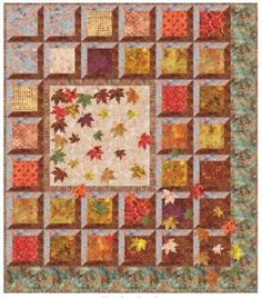 = free pattern = Sweet Cinnamon Pumpkin quilt (including leaf templates) at Anthology Fabrics, featured at Quilt Inspiration