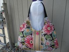 Black Floral Bag With Burlap Webbing by OMGDesigns on Etsy, $38.00