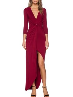 Wine Red V Neck Knotted Asymmetrical Dress