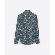 Zara Branch Print Shirt (€45) via Polyvore featuring men's fashion, men's clothing, men's shirts, men's casual shirts, green, mens patterned shirts, zara mens shirts, mens print shirts et mens green shirt