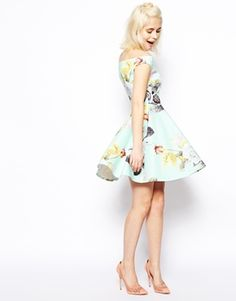 Image 4 ofASOS Mint Floral Bardot Skater Dress $75.26