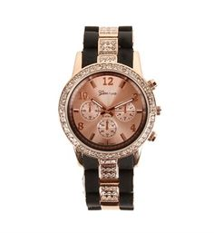 Black/Rose Gold Two Tone Rhinestone Watch from Windsor. Saved to Epic Wishlist. Michael Kors Watch, Gold Watch, Bangles, Bling, Rose Gold, Diamond, Silver, Stuff To Buy, Accessories