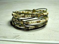 Olive Tripe Warp Bracelet / Wrap Around / Bohemian Wrap Bracelet / Womens Leather Bracelet / Leather Wrap Bracelet by BeadWorkBySmileyKit on Etsy