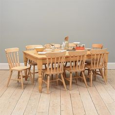 Farmhouse Pine Plank Top Table and 8 Chairs including free delivery (916.397) | Pine Solutions