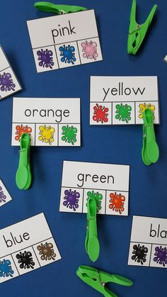 Color Word Clip Card Fun for Your Little Learners!  $    #colorwords #clipcards…