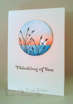handmade card from Stampinantics: Wetlands ... clean and simple ... circle with sponged sea and sunset ... beach grasses stamped on top ... luv the elegant look with tons of white space ... Stampin'Up!