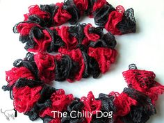 Free Crochet Pattern: How to make a ruffled scarf with one skein of Red Heart Boutique Sashay Team Spirit yarn