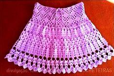 CROCHE COM RECEITA: Saia em croche rosa para a menina encantadora