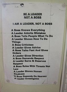 If only I could pass this out and see if people could recognize themselves. Leadership