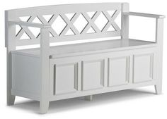 Simpli Home Amherst Entryway Storage Bench - White
