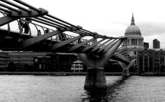 Millennium Bridge and St. Paul's Cathedral in London (June 2014) - Photo taken by BradJill