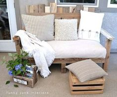 """Slide 13 of 60: <p>Convert <a href=""""http://www.countryliving.com/diy-crafts/g2299/wood-pallet-crafts/"""">leftover pallet wood</a> into a cozy sofa, a perfect place to sip your morning coffee or enjoy an evening cocktail.</p><p><strong>Get the tutorial at <a href=""""http://www.funkyjunkinteriors.net/2011/08/how-i-built-pallet-sofa-part-2.html"""">Funky Junk Interiors</a>. <br></strong></p><p><strong>RELATED:</strong> <a…"""