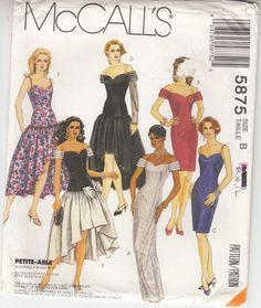 Off Shoulder Dress Wedding Bridemaids High Low McCalls Sew Pattern 5875 Sz 8-12 #McCalls5875eveningweddingdresses #offshoulderhighlowdresses