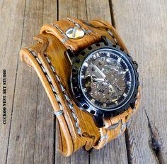Steampunk Leather Watch Cuff Skeleton Men's by CuckooNestArtStudio