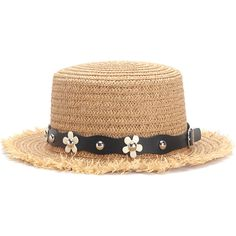 3aae5a5ddae Flower Decorated PU Band Straw Hat (665 RSD) ❤ liked on Polyvore featuring  accessories