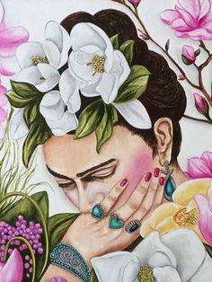 Frida Kahlo Art Pint Frida Mexican Art Mexican Home Decor Mexican Home Decor, Mexican Art, Art Original, Original Paintings, Canvas Art Prints, Fine Art Prints, Frida Kahlo Portraits, Kahlo Paintings, Frida And Diego