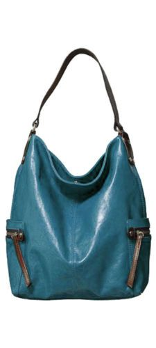 Tano Handbags Leather Bag Check Hobo With Zippered Pockets Teal Blue