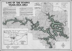 Lake of the Ozarks Map Decorator Gray with Antique Green water - Gallup Map