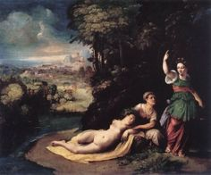 Mythological o Allegorical Scene Dossi Dosso Actual location: Rome, Galleria Borghese The subject of the picture also known as The Transformation of Syrinx or Diana and Callisto remains unknown