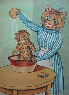 Cat Giving Kitten A Bath by Louis Wain