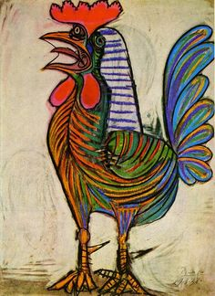 Pablo Picasso The Cock 1938 art painting for sale; Shop your favorite Pablo Picasso The Cock 1938 painting on canvas or frame at discount price. Pablo Picasso, Kunst Picasso, Art Picasso, Picasso Paintings, Animal Paintings, Oil Paintings, Indian Paintings, Abstract Paintings, Landscape Paintings