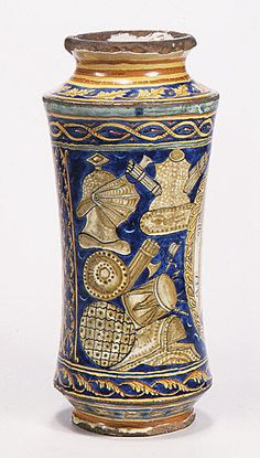 Vase, Pharmacy  Date: dated 1551 Culture: Italian (Sicily) (?) Medium: Faience (tin-enameled earthenware)
