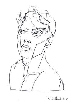"""Gaze 345″, continuous line drawing by Boris Schmitz"
