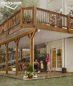 Outdoor Deck Ideas - You've chosen a deck over a patio. Need deck ideas? Enjoy this slideshow of deck design ideas and pictures for your next project. Patio Under Decks, Decks And Porches, Under Deck Roofing, Under Deck Landscaping, Under Deck Ceiling, Small Patio, Porche Frontal, Outdoor Rooms, Outdoor Living