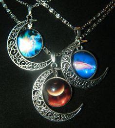 Glass Cabochon Filigree Crescent Moon Celestial Pendant Silver Chain Necklace
