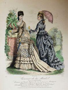 Courrier de la Mode 1875 -- I like the neckline of the dress on the left.