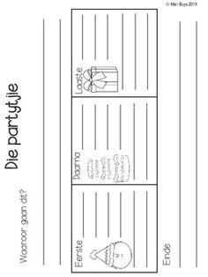 Afrikaans Skryf 'n Storie in Graad 1 & 2 KABV/CAPS doelwit 1st Grade Worksheets, Preschool Worksheets, Afrikaans Language, Teaching Aids, My Journal, Kids Education, Languages, Homeschool, Gown