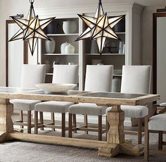 Reclaimed Pine & Bluestone Rectangular Dining Table:Inspired by… Dining Room Design, Dining Room Table, Dining Rooms, Dinning Room Light Fixture, Star Chandelier, Stairwell Chandelier, Antique Mirror Glass, Antiqued Mirror, Heng Long
