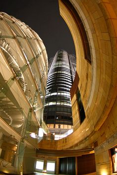 Curves of marble,glass and steel at Roppongi Hills, Tokyo, Japan